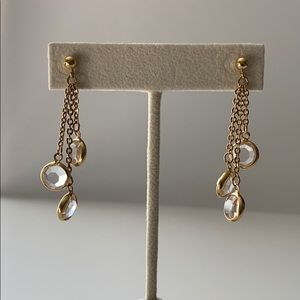Crystal and Gold Chain Chandelier Earrings